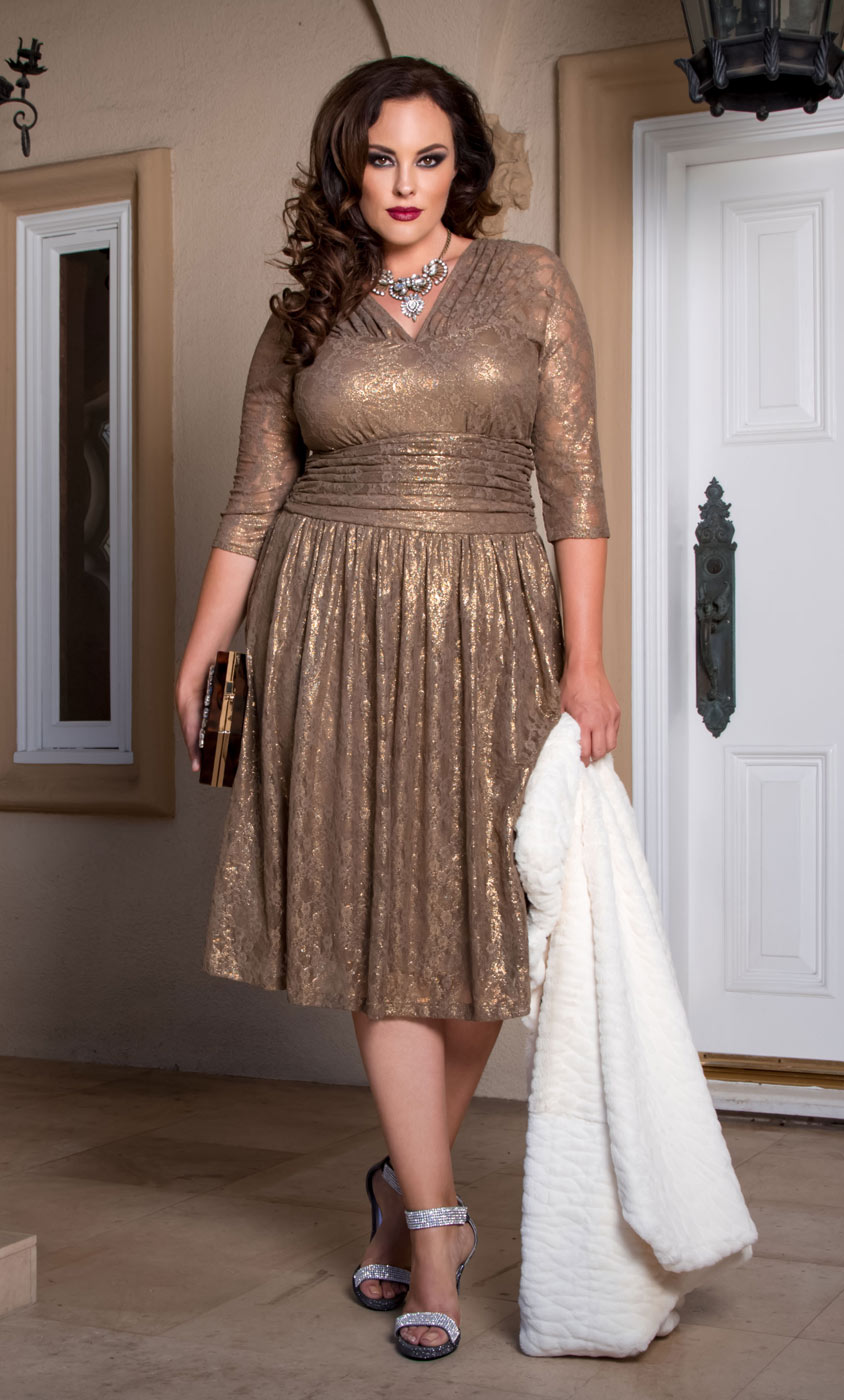 Tea Length Brown Plus Size Dresses