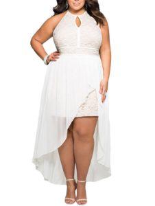 3. Plus size white Christmas dress for women