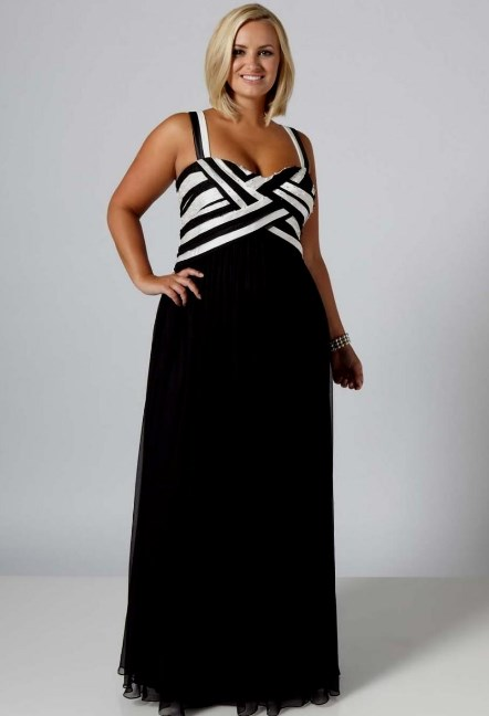 Black And White Plus Size Formal Dresses
