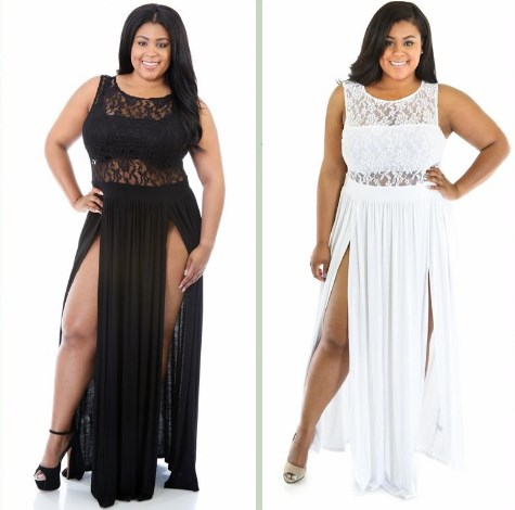 Black & White Plus Size Formal Dresses