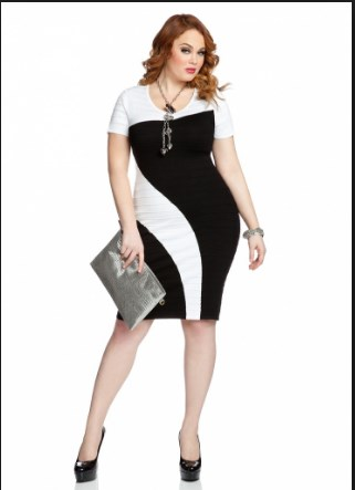 Stylish black and white formal dresses plus size