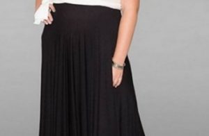 black and white plus size long dress