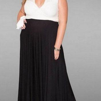 black and white plus size long dress