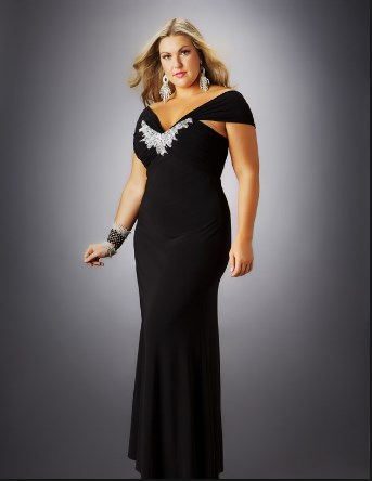 black and white plus size long dresses